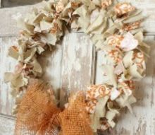 coat hanger fall rag wreath, crafts, seasonal holiday decor, wreaths, Finished Coat Hanger Fall Rag Wreath