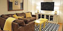 complete diy basement renovation, basement ideas, entertainment rec rooms, home decor, window treatments
