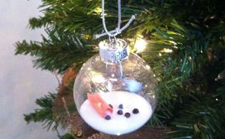 melted snowman ornament, christmas decorations, seasonal holiday decor, Melted Snowman Ornament
