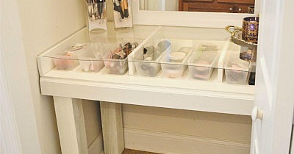 Diy Glass Top Makeup Vanity Desk Hometalk