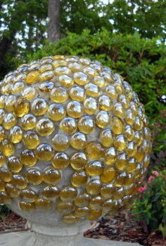 marble covered concrete ball, crafts, gardening, A new version of the Bowling Ball