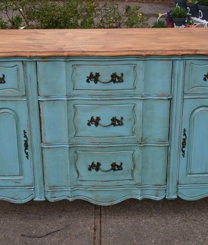 Turquoise Distressed French Sideboard