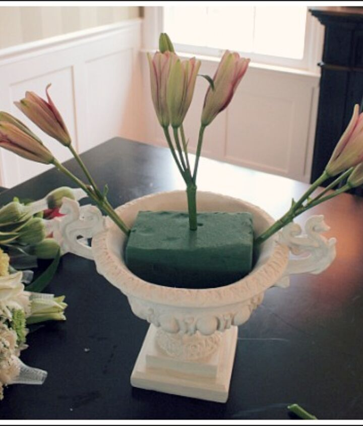 You start with a foam block for real flowers.