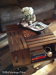 vintage wine crate coffee table, painted furniture, repurposing upcycling