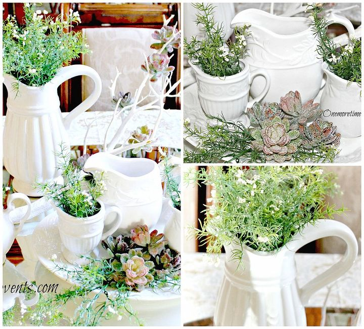 spring table centerpiece with a frosted winter touch, home decor, seasonal holiday decor, Using a variety of White Pitchers and plater