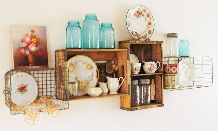 My intage soda crate and wire basket shelves