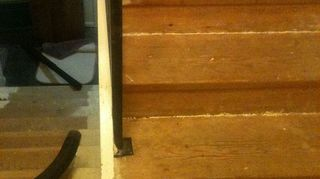 q does anybody know what to use for filling gaps in between stairs, flooring, home maintenance repairs, stairs, what were working with