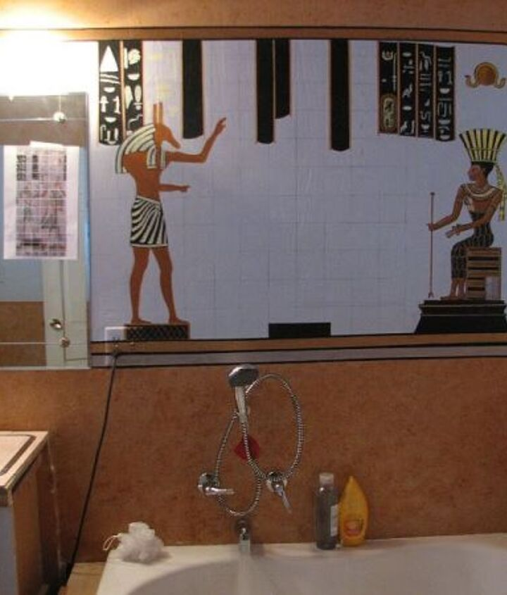 """And this is  the Egyptian theme that will go across the entire wall. It's not finished yet. I am working on it. We call this bathroom now our """"Wet Tomb"""" ... or better not say ... lol"""