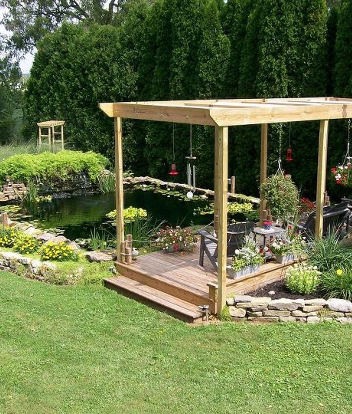 my wonderful husband built this pond and pergola deck for us 2 years ago we love, outdoor living, ponds water features