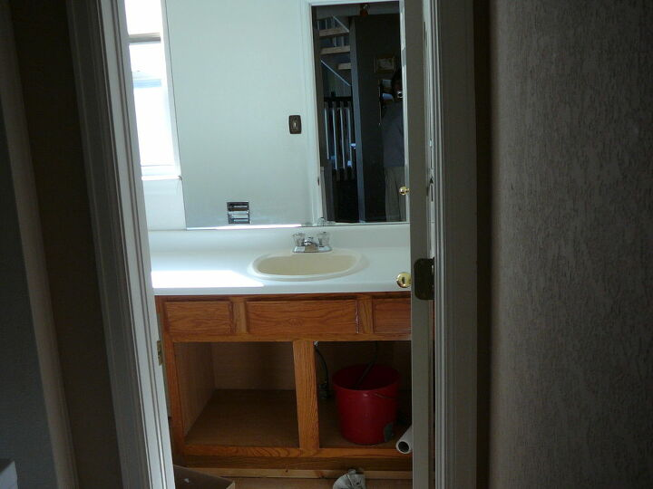 before and after diy half bath all products purchased from home store, bathroom ideas, home improvement, Before