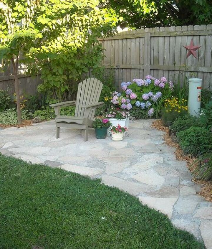 flagstone patio connect to the shed area
