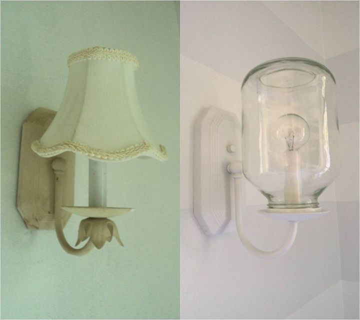 new sconces out of applesauce jars, home decor, repurposing upcycling