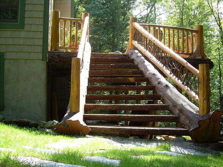 set of custom log stairs 30 degree turn to hit the grade, decks, outdoor living