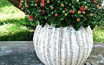 the best makeover for a 1 plastic pumpkin, crafts, decoupage, gardening, Turn an ugly plastic pumpkin into this music sheet planter