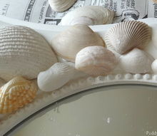 diy seashell mirror, crafts, attaching inner row of shells