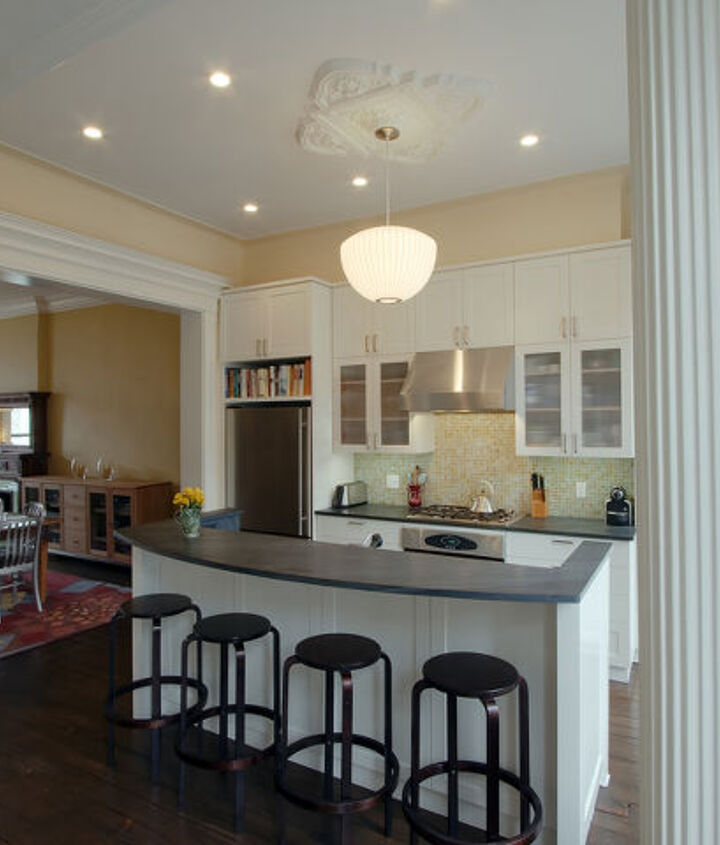 Kitchen with original columns and ceiling medallion