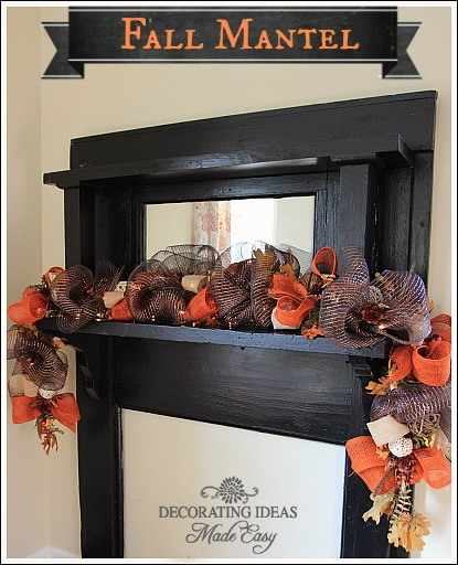 This garland is made using three different ribbons fall fillers, and dried fall leaves.