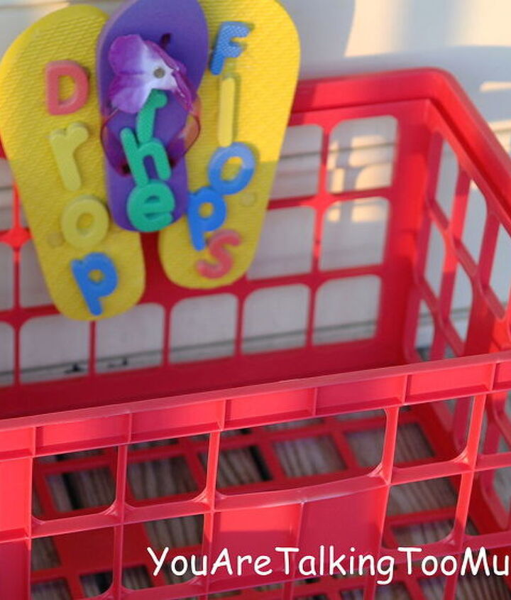 perfect place for sandy shoes with dollar tree goodies, crafts