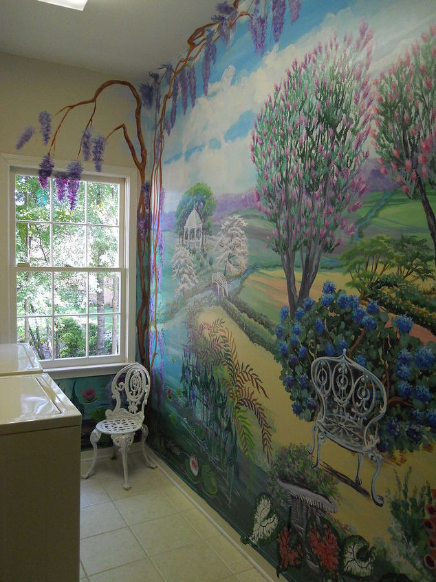 my client wanted a happy laundry room the artist did a wonderful job would it, home decor