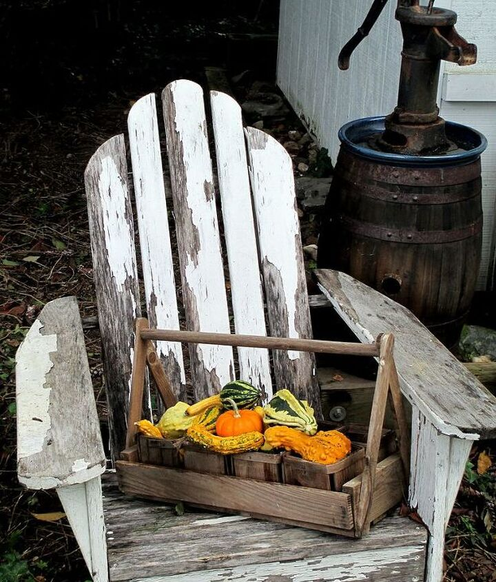 A little Fall vignette by our garden shed. Happy Fall to all : ) http://pinterest.com/barbrosen/