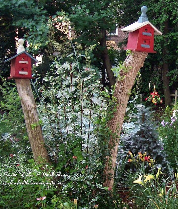 Leave tree stumps high rather than removing them to use as sturdy stands for birdhouses in your garden! Train a vine in between them. http://ourfairfieldhomeandgarden.com/ or http://pinterest.com/barbrosen/our-fairfield-garden/