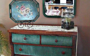 double duty furniture pieces maximize storage, painted furniture, I painted this roomy dresser and moved it into our dining room to use as a sideboard and for extra linen storage