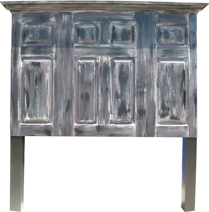 Hand distressed queen size extended height headboard with legs