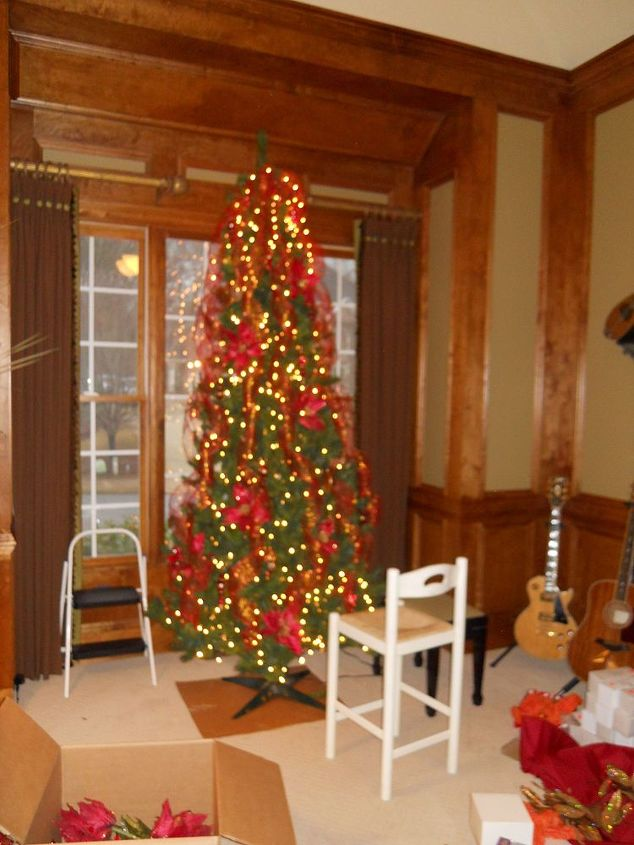 q as i promised here is more holiday decor featured below is a tree that i did last, christmas decorations, seasonal holiday decor, Almost done