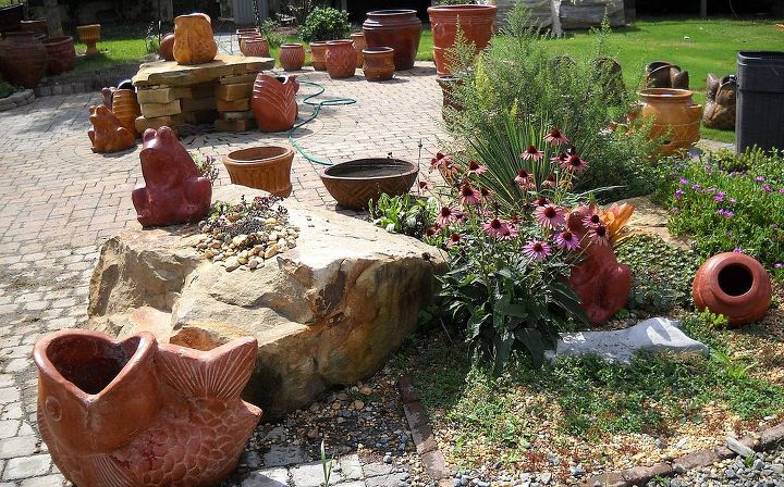 Boulders, pottery, table and pavers all will give your winter garden life