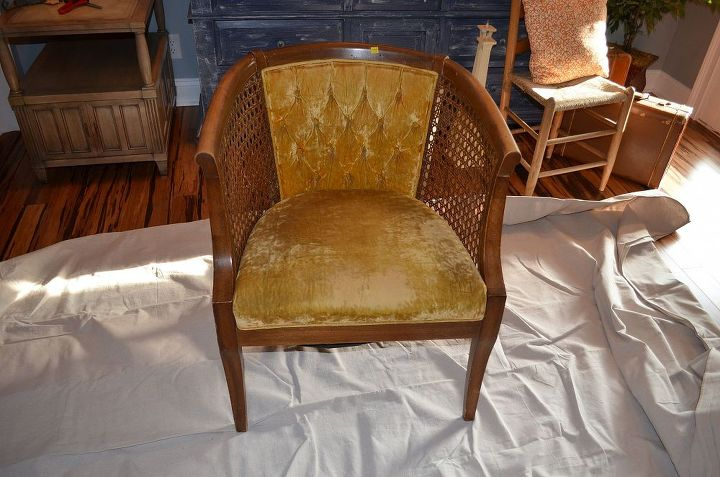 Vintage Cane Chair makeover~Before She was a beauty but the cane was torn.