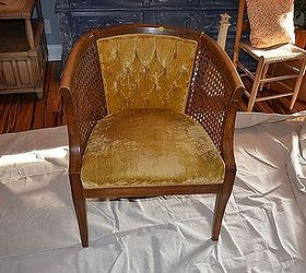 Damaged Cane Chair Gets Fabric Makeover How To Pics, Painted Furniture,  Reupholster, Vintage