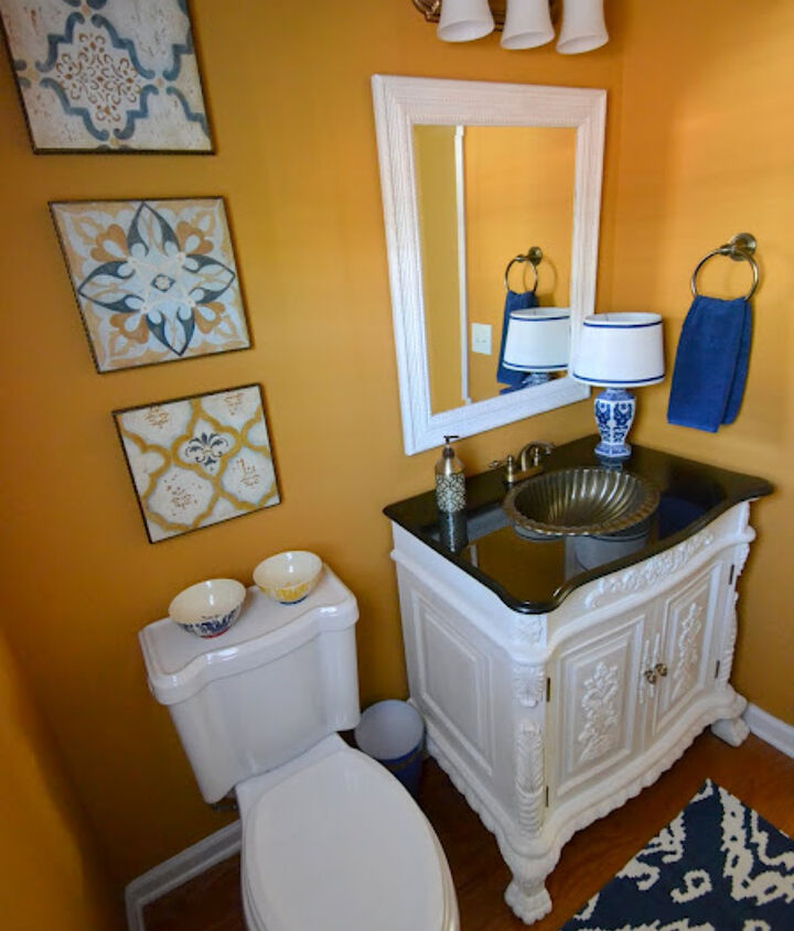 I love the mix of all the patterns in my newly made-over powder room.
