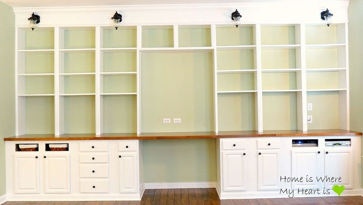 diy built in bookcases, diy, shelving ideas, woodworking projects, We added trim to give it a clean finished look