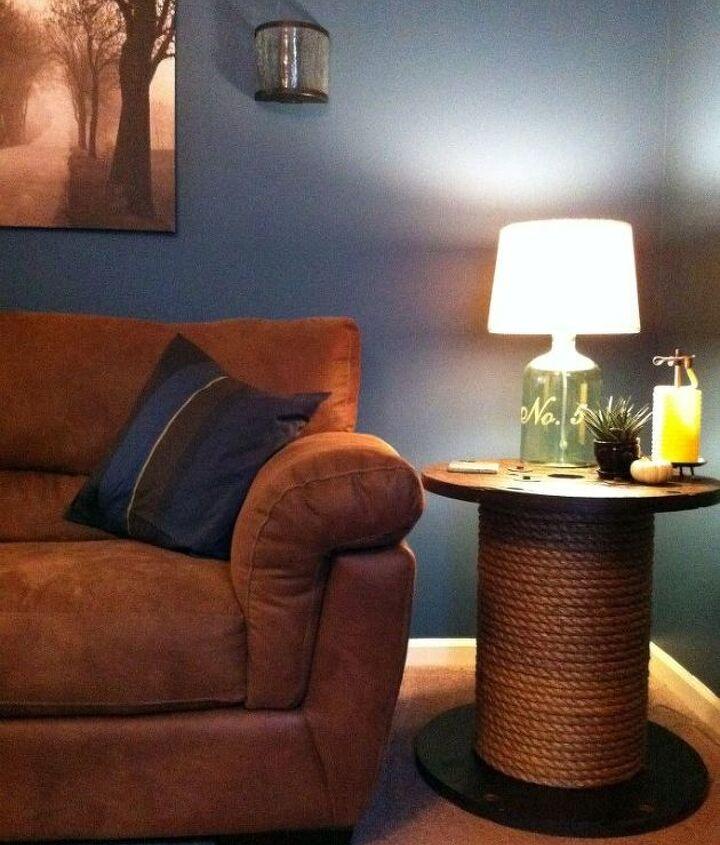 diy spool side table, painted furniture, repurposing upcycling