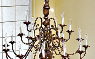 Diy brass chandelier makeover on the cheap hometalk from brassy to sassy brass chandelier makeover with spray paint lighting painting aloadofball Images
