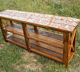 Reclaimed Stenciled Rustic X Console, Diy, Painted Furniture, Repurposing  Upcycling, Rustic Furniture