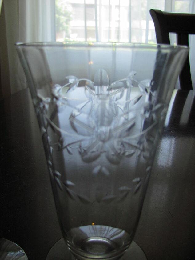 crystal stemware detail of etching