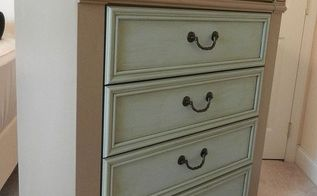 before and after of a new chest of drawers, chalk paint, painted furniture, AFTER PIC using chalk paint and an antiquing glaze