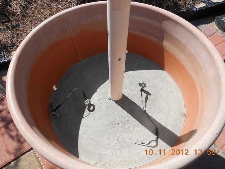 umbrella holder in a cement plant container, concrete masonry, diy, repurposing upcycling