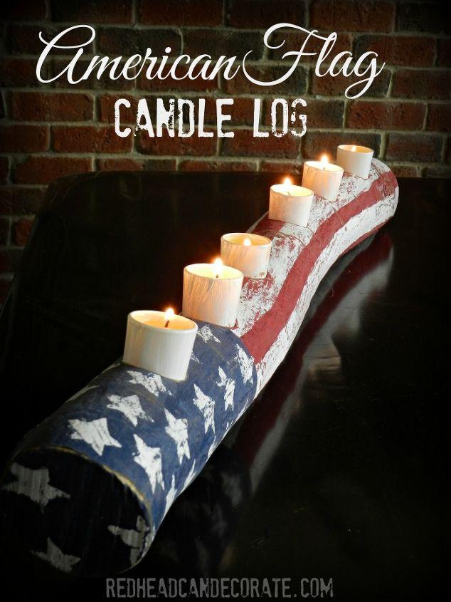 american flag log candle, crafts, patriotic decor ideas, seasonal holiday decor