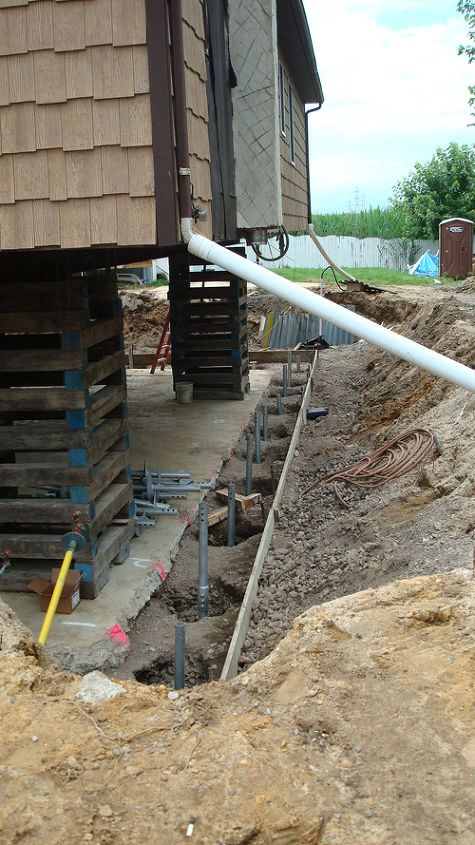 Helical piers driven 36 feet into the ground.