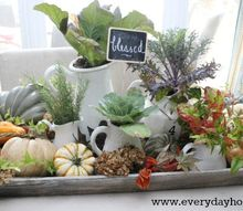 creating an autumn filled tray, seasonal holiday d cor, Dried hydrangea and fresh ivy are scattered around Visit my blog and tour my home for Fall to see where this tray is placed