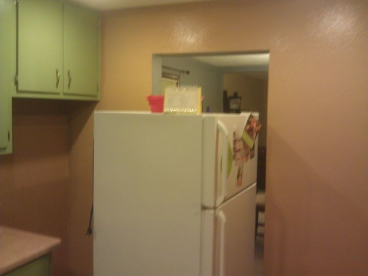from green to a dream our kitchen cabinets get painted, doors, kitchen cabinets, kitchen design, painting, woodworking projects, Painting the walls was step one