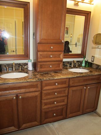 must admit this is one of the best colors cambria has this is a close up, bathroom ideas, home decor, The cherry cabinets