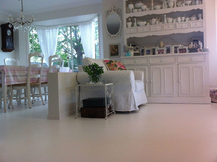 painted concrete floors, concrete masonry, flooring, painting, lounge and dining rooms with painted concrete floors in white of course
