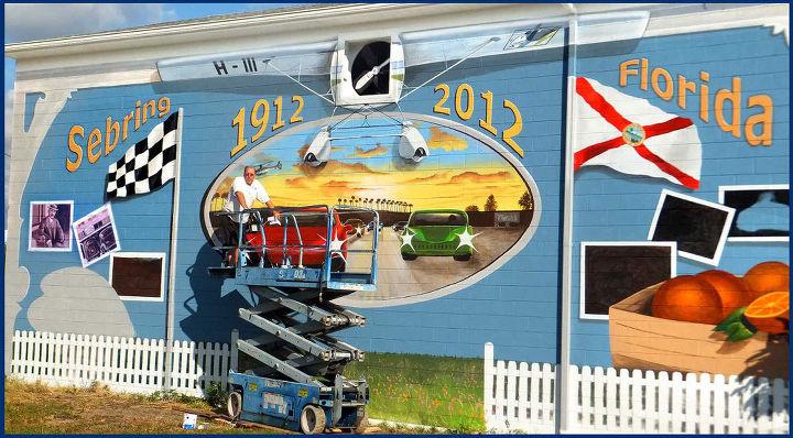 sebring centennial mural, painting, wall decor, Sebring FL Centennial Mural in progress by Hahn