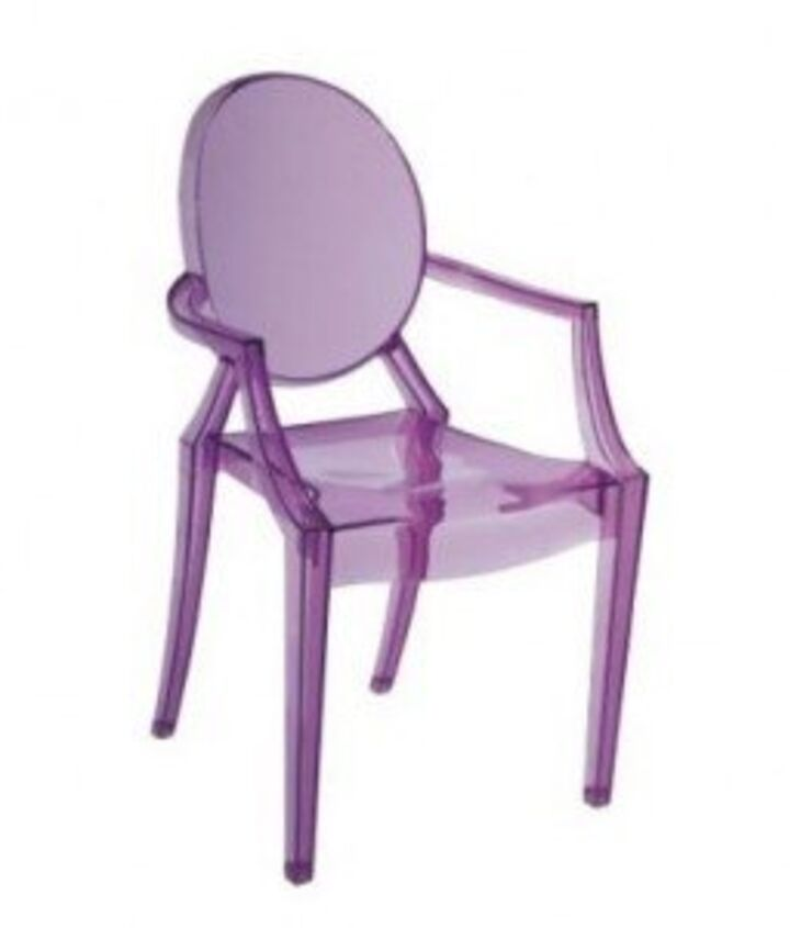 Purple Furniture: AccEase into purple furniture with the soft hue of a transparent Louis Ghost Armchair