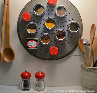DIY pizza pan magnetic spice rack