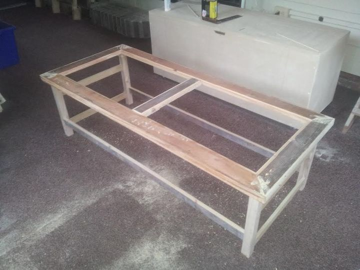 refurbished skid pallet into a coffee table completion shortly, diy, painted furniture, pallet, woodworking projects
