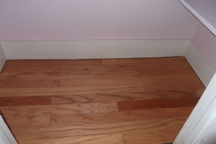 Ahhh.. a new hardwood floor leftover from another project. It was just enough with nothing to spare.  So glad i saved it.